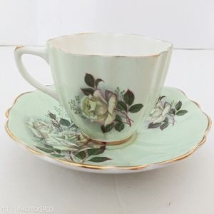 Vintage Crownford China Rose print teacup & saucer
